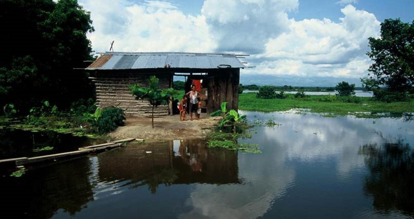 Colombian family whose home floods every year creating hazardous living conditions.