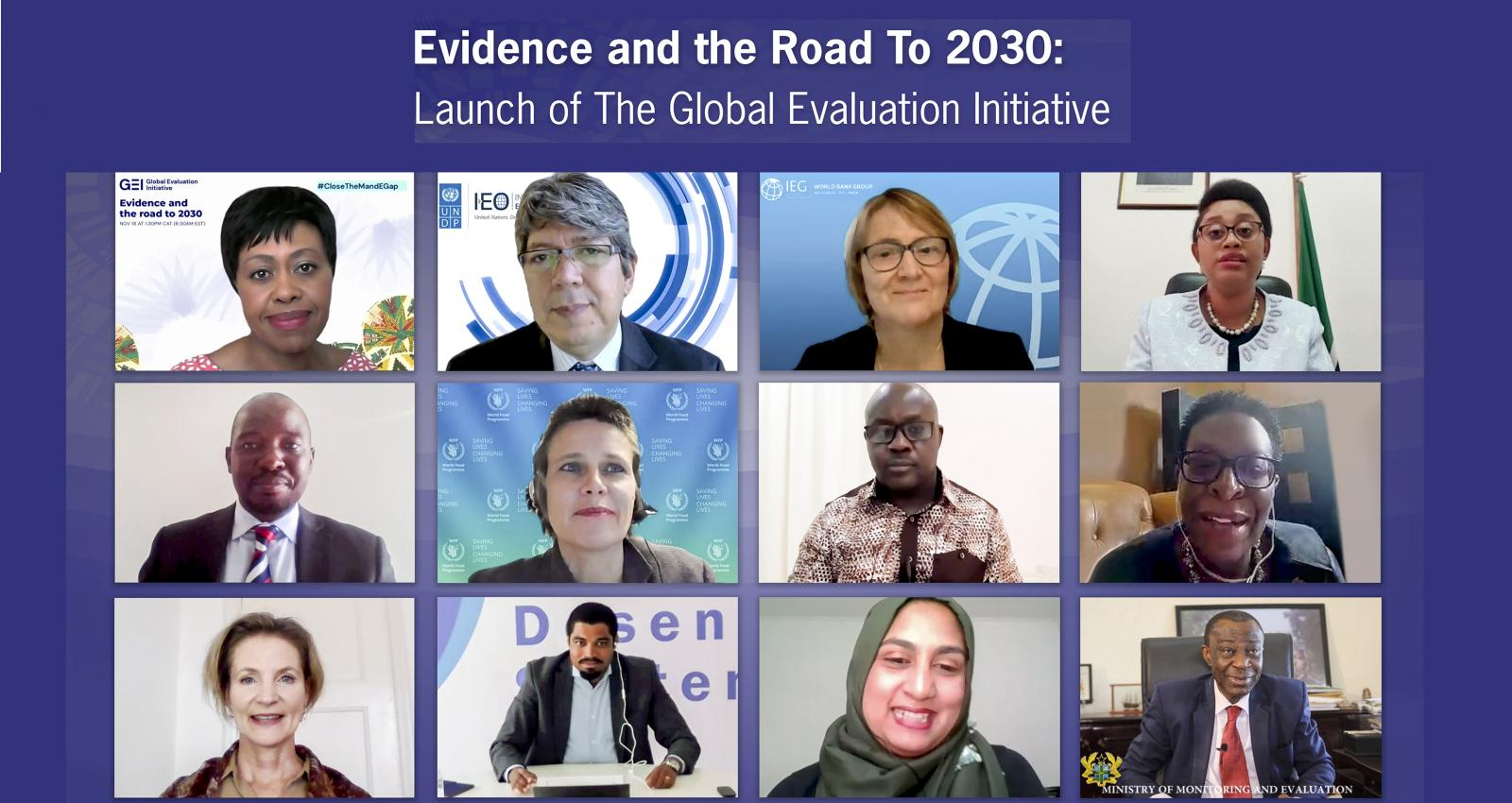 Participants of the Virtual Africa launch of the Global Evaluation Initiative
